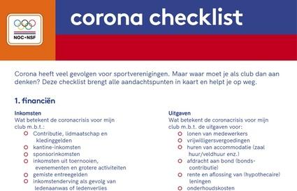 Checklist coronavirus voor sportverenigingen