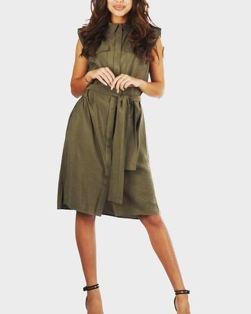 Drykorn summer dress army green.