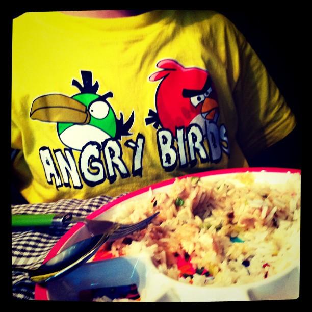 Angry birds hebben hekel aan rijst
